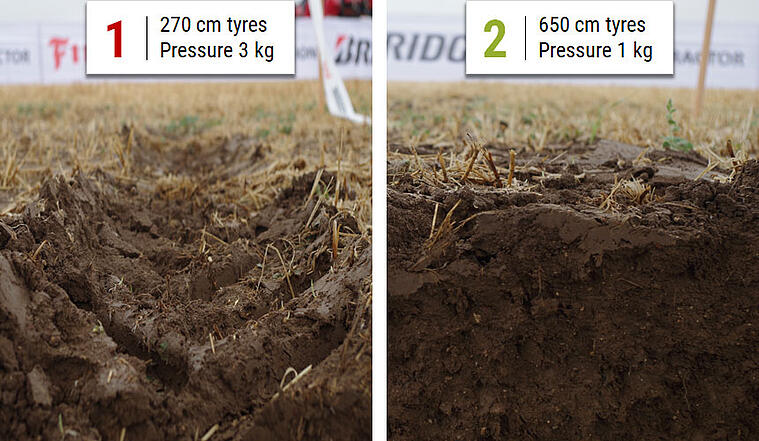 Comparison of ruts formed by two different tyres