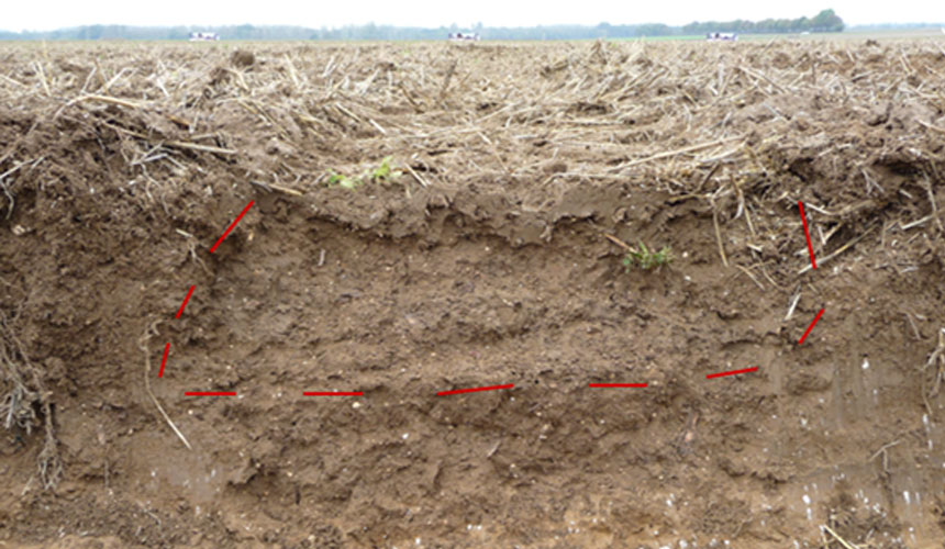 soil cutting with compaction linked to tractor tyres
