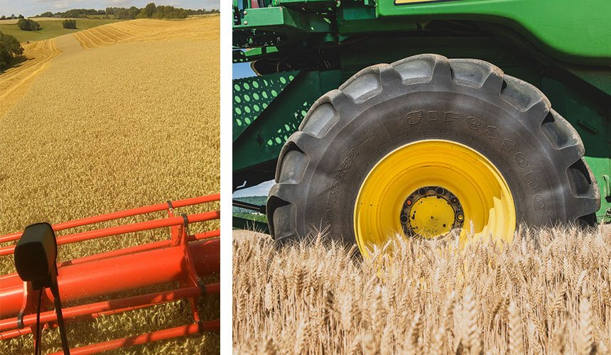 VF tyre control in sloping fields