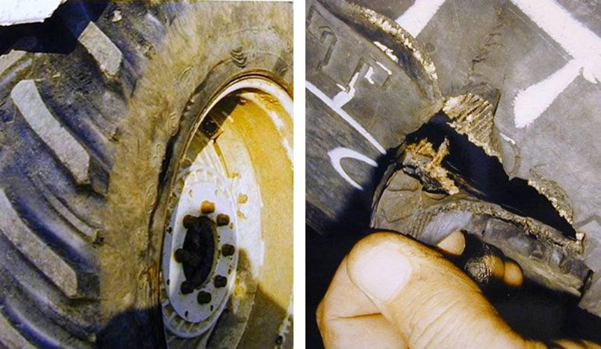 Split in the tyre sidewall