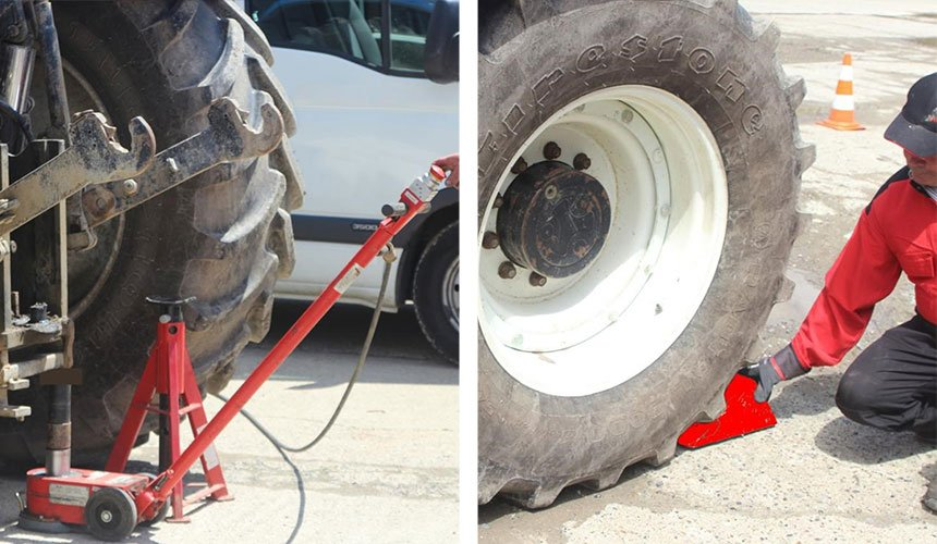 Lifting the tractor: jack stand and wheel chock