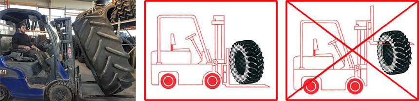 Handling tyres with lifting equipment