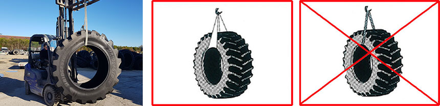 Handle tyres with a fabric sling