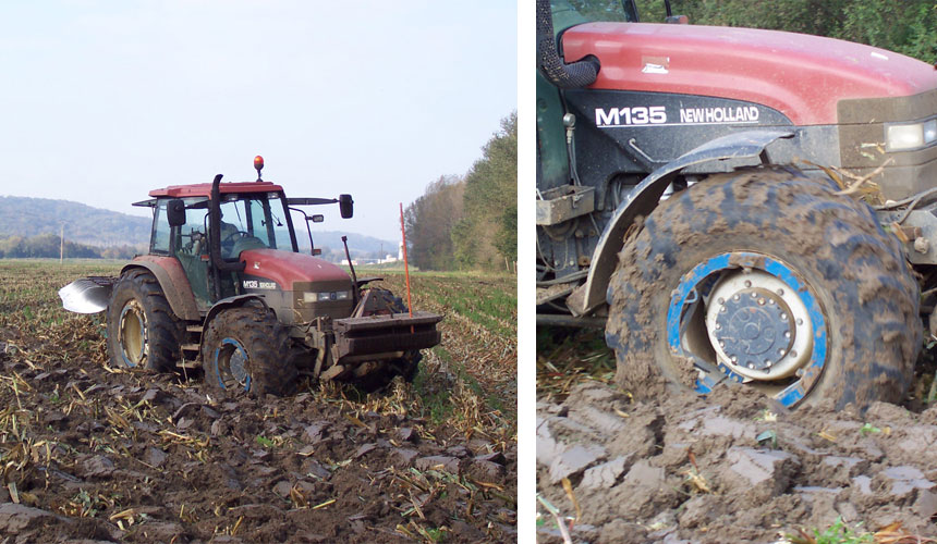 wet slippage of tractor tyres