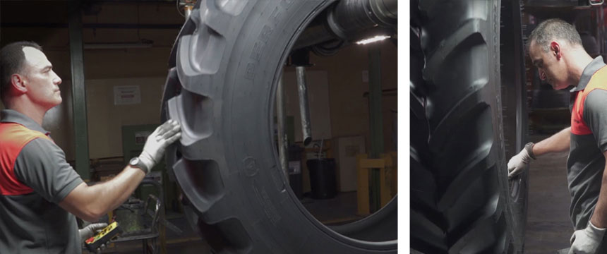 Manual inspection of quality tractor tyres