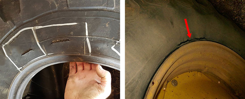 Tear in the casing at the level of the ply turn-up just above the tyre bead