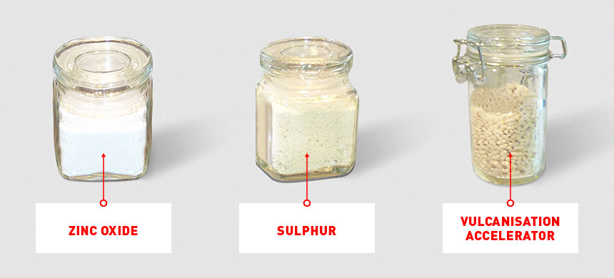 On the left, zinc oxide, in the middle sulphur, on the right vulcanisation accelerator