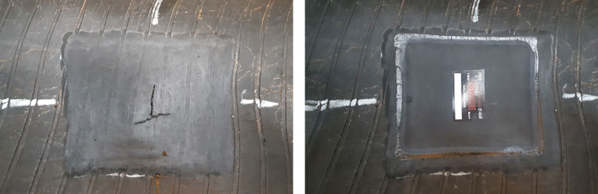Repair with a patch and cold vulcanisation
