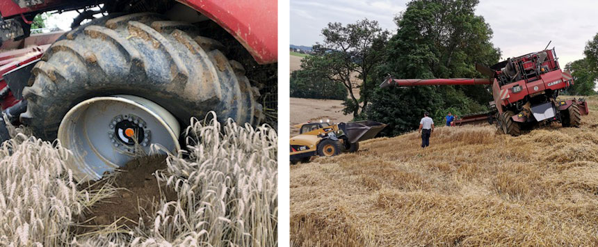 Tyre coming off the rim of a harvester