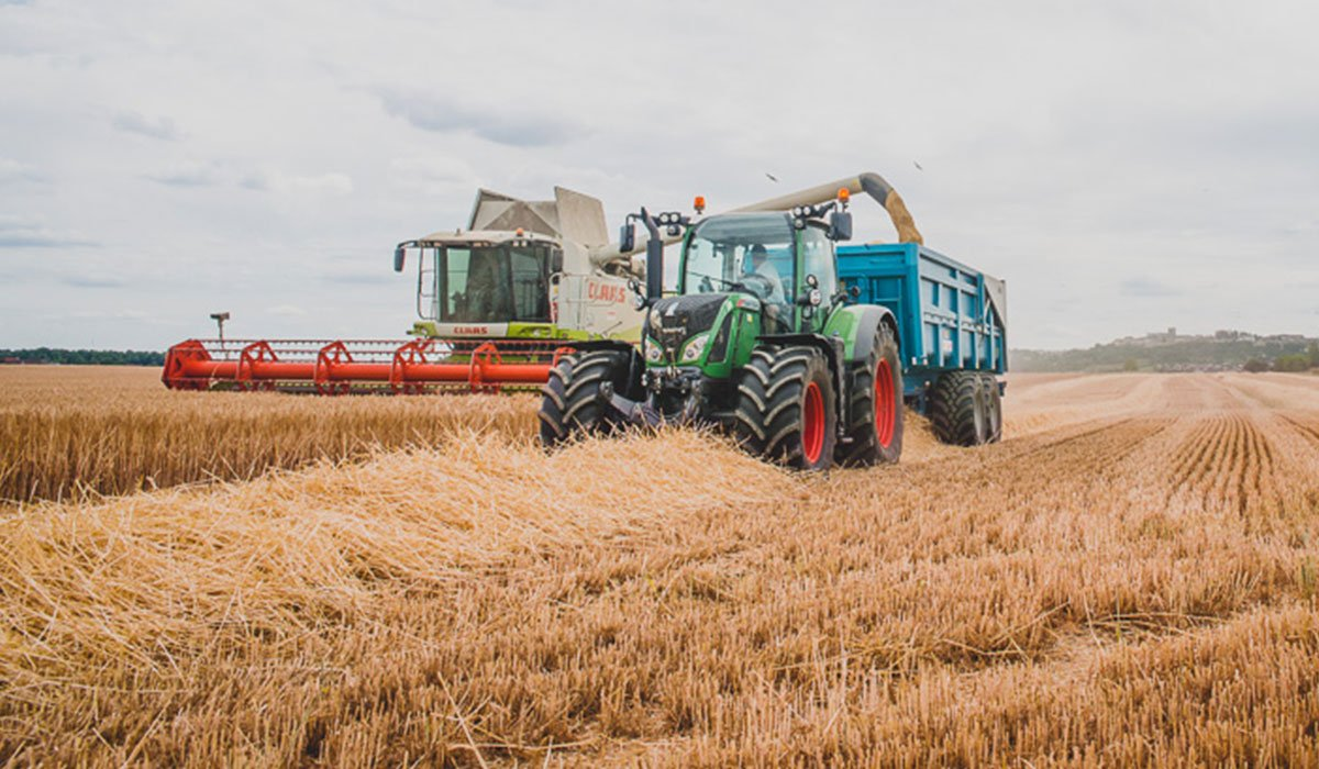 Harvester with IF maxi traction tyres