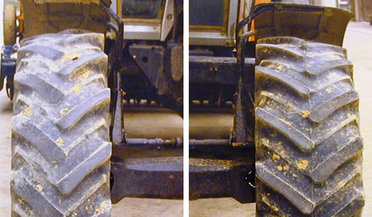 abnormal wear of front tractor tyres