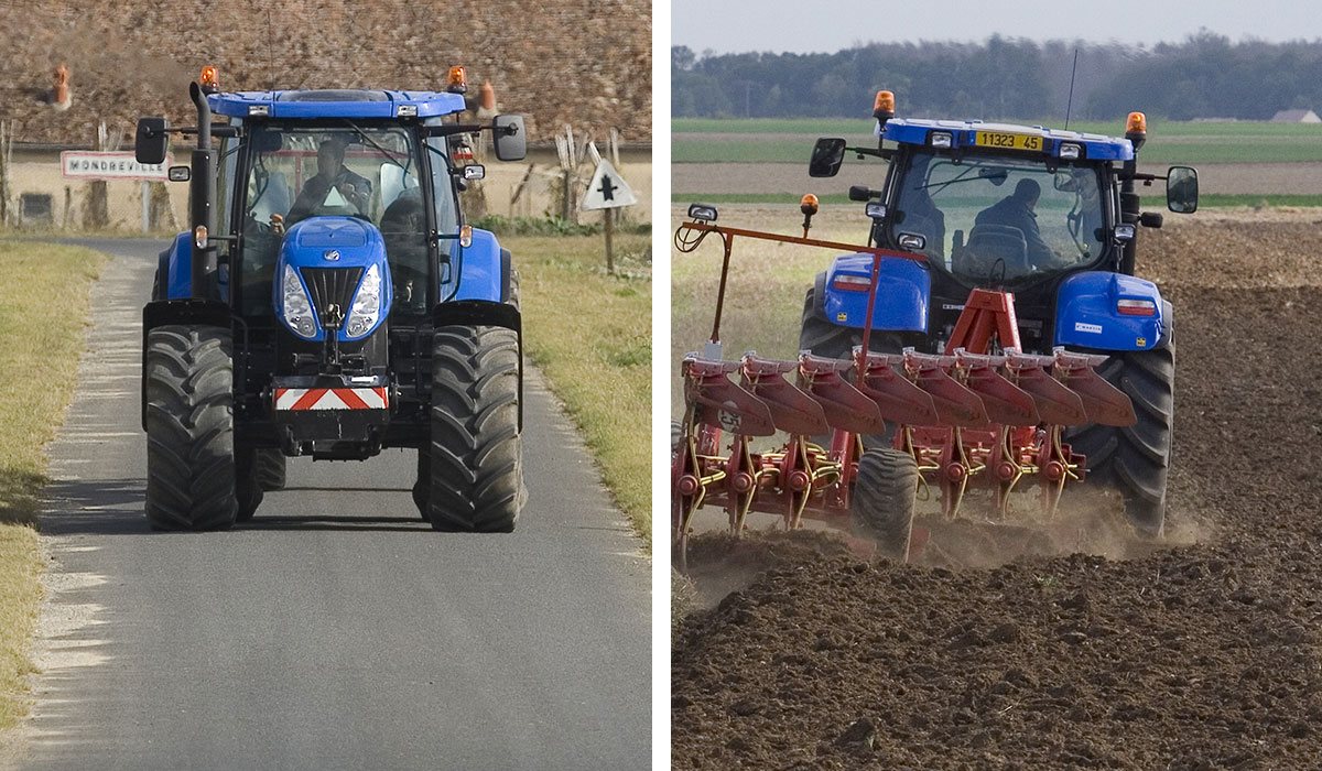 Tractor tyre pressure on roads and fields